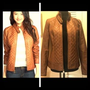 Guess Quilted Faux Leather Utility Jacket